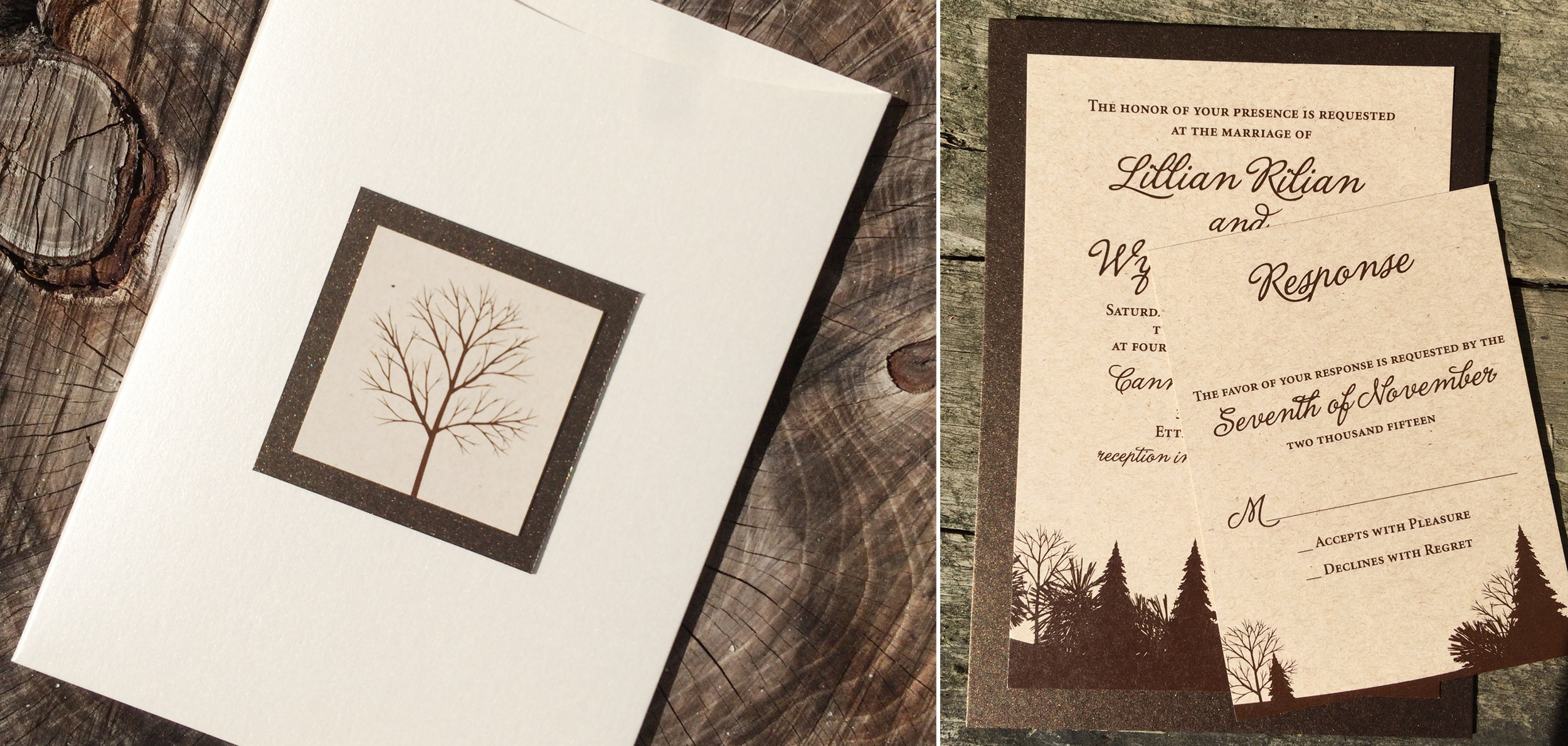 Woodsy Winter Invitation Design. Customization is available.