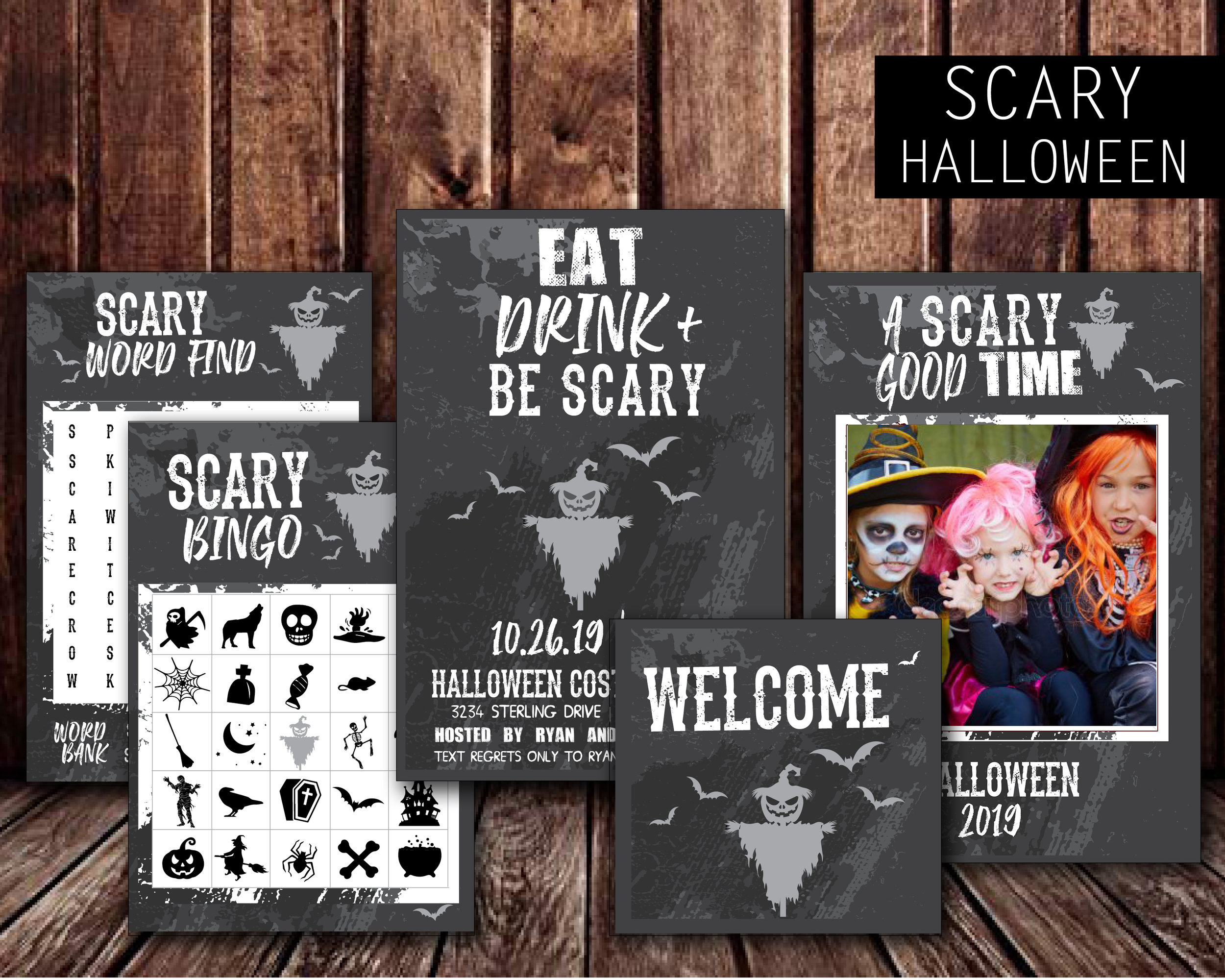 Party Invitation, Welcome Sign, Activity Games for Kids, Photo Booth Selfie Prop Frame
