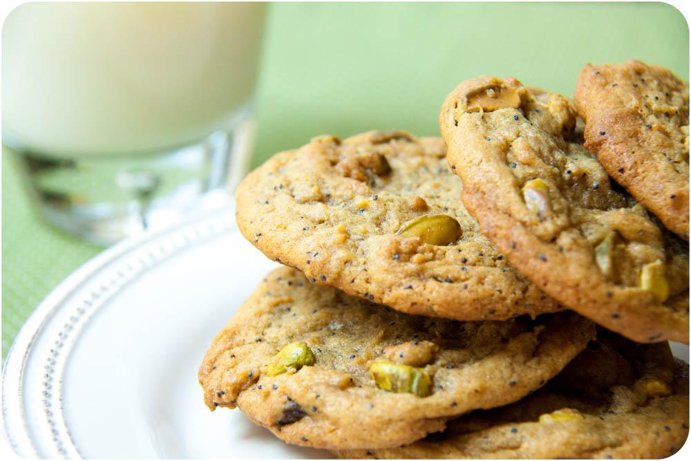 orange + poppy seed + pistachio cookies
