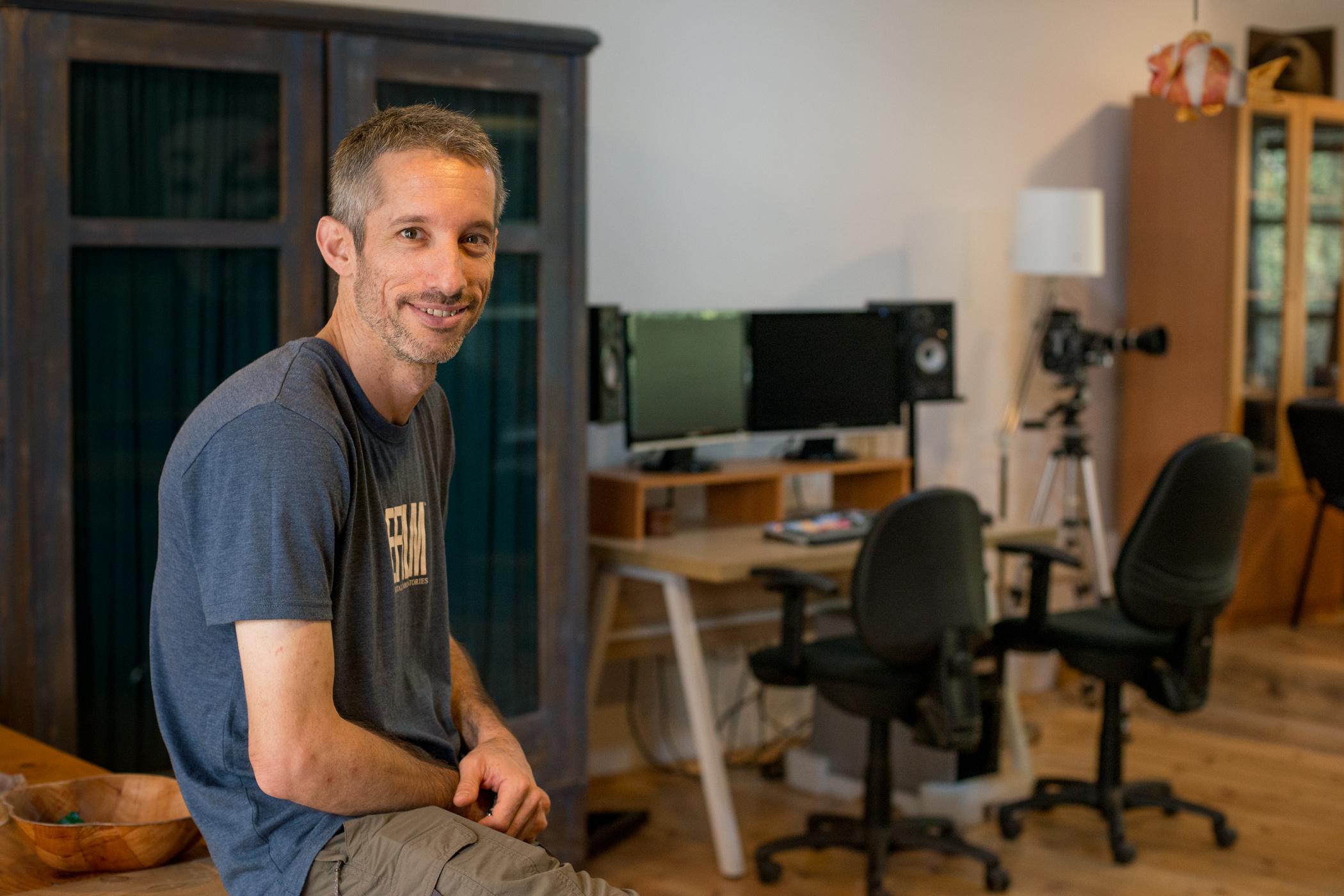 Arbel in his production studio. Ein-HaShofet, Israel