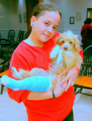Erica with her mother's dog, Barney, who just broke his leg.