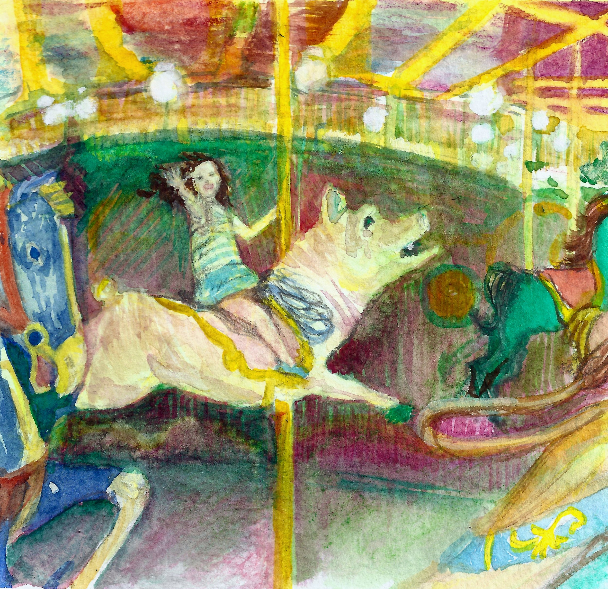 Merry on the Carousel  Mixed Media. acrylic, watercolor, graphite on 140 lb cold press