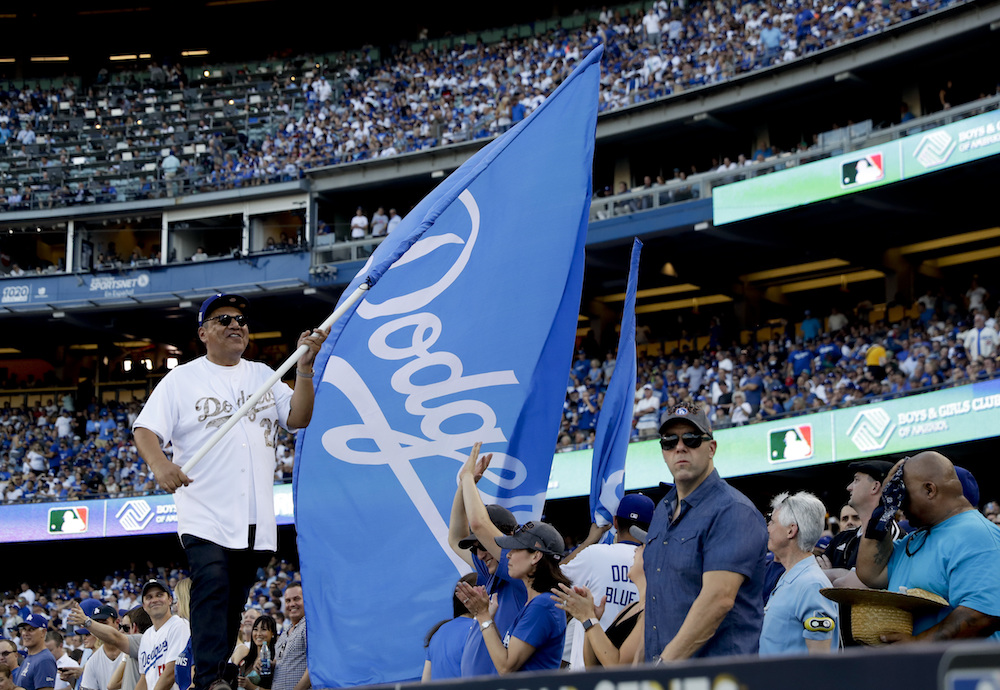 George Lopez Waving Dodgers Flag World Series Game 1 2017.jpg