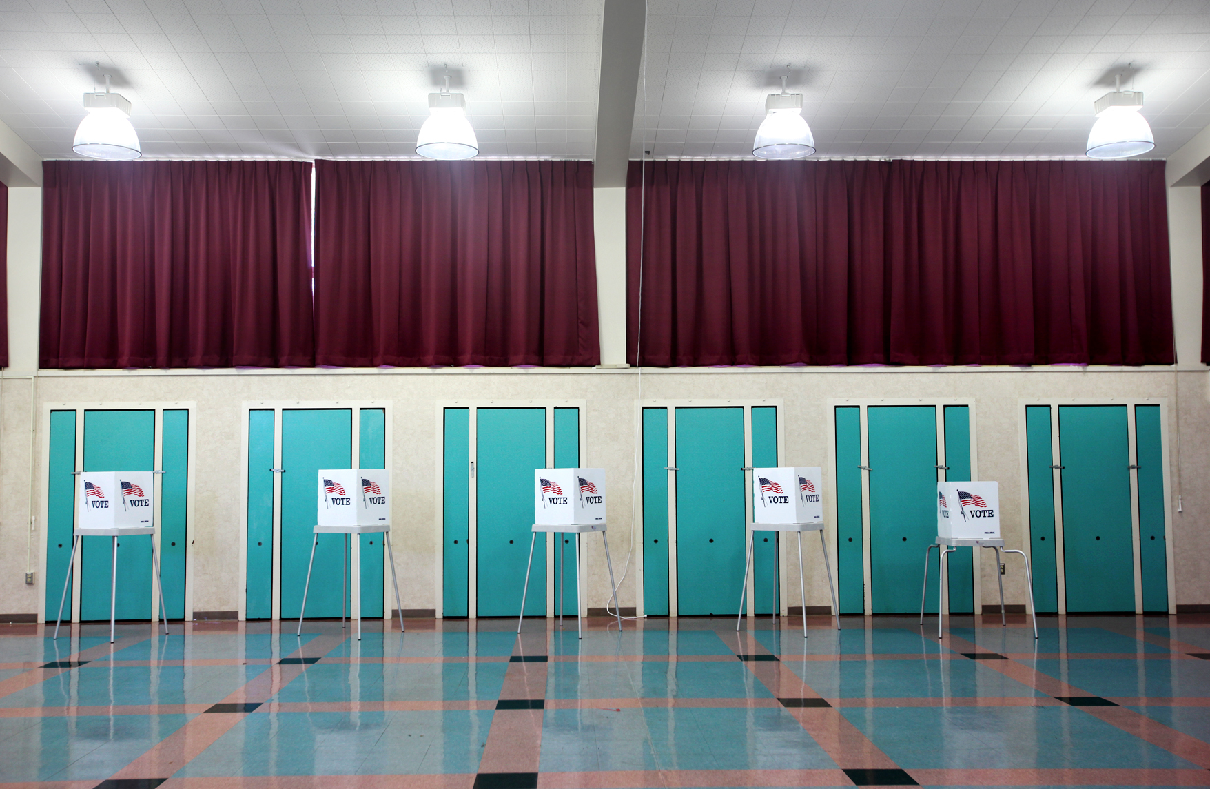Voting booths at Graham Middle School in Mountain View, Calif.