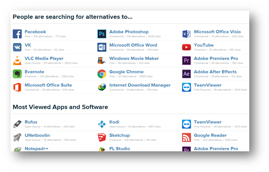 Trending and popular apps