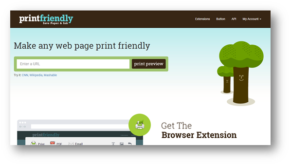 Paste your url and click print preview.