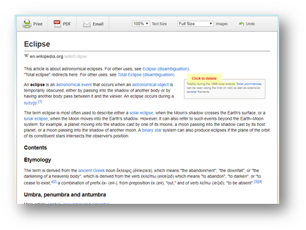 Here is Print Preview of a page from Wikipedia.