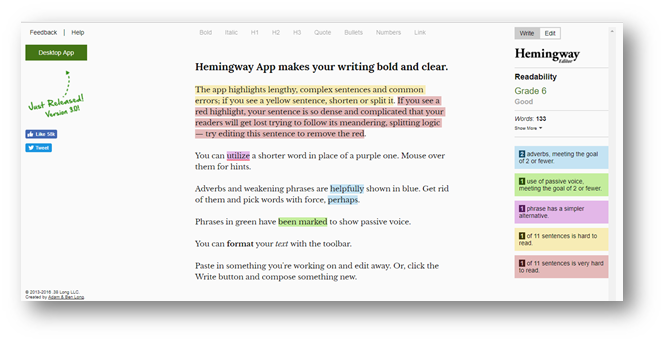 Edit mode of the app with sample text and highlighted suggestions.