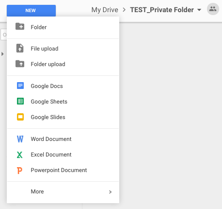 How do I create private folders and documents in Google