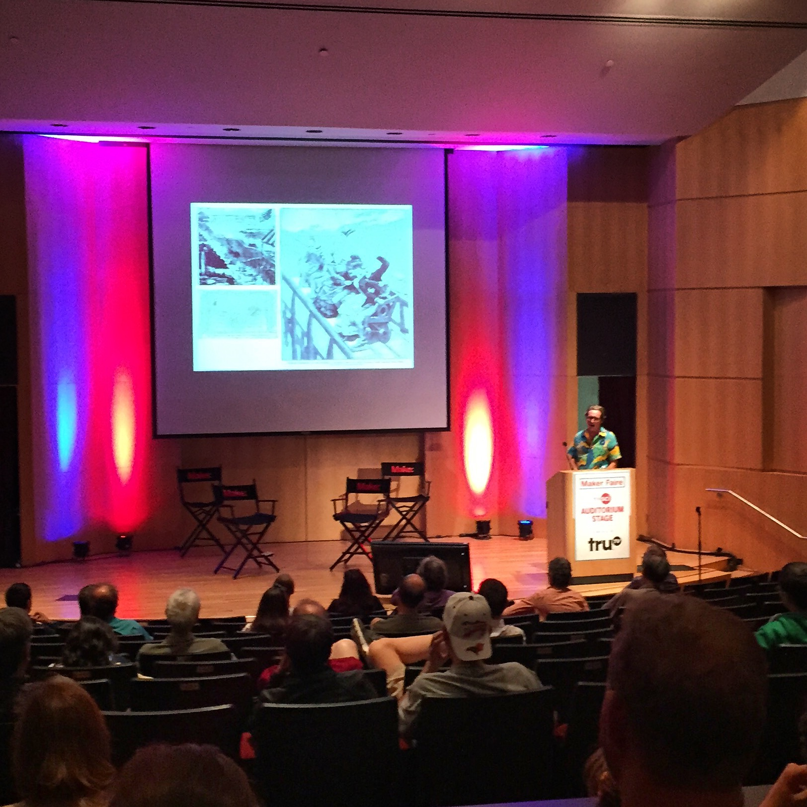 """Meadowbrook Alumnus Fred """"The Great Fredini"""" Kahl presents on his 3D Scan-a-Rama project."""