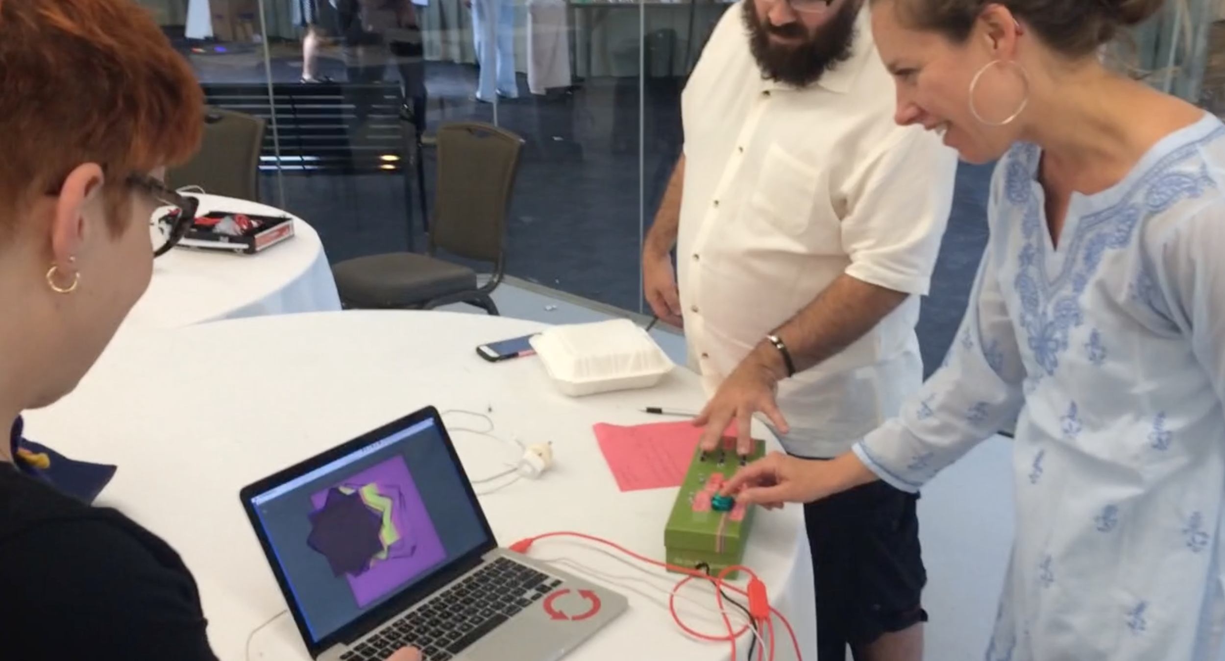 "Teachers playing with our project, ""The Cooperative Etch-A-Sketch"", at Constructing Modern Knowledge 2016."