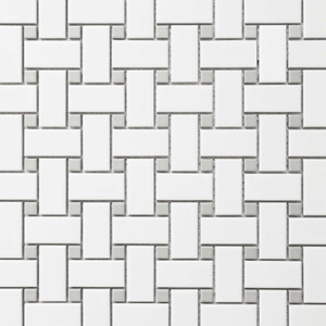Basketweave White with Grey Dots