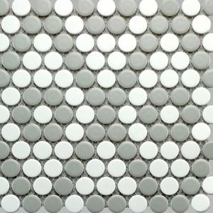 Argyle Penny Round - White with Grey