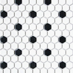 Hex White with Black Dots 1 x 1