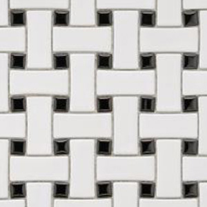 Basketweave White with Black Dots