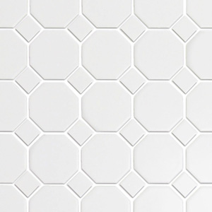 Octagon White with White Dot Matte