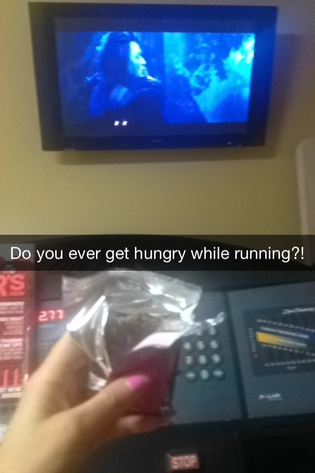 from Monday night's run- felt too hungry and distracted to keep myself from grabbing a Picky Bar to eat while on treadmill. you don't lose weight this way, people.