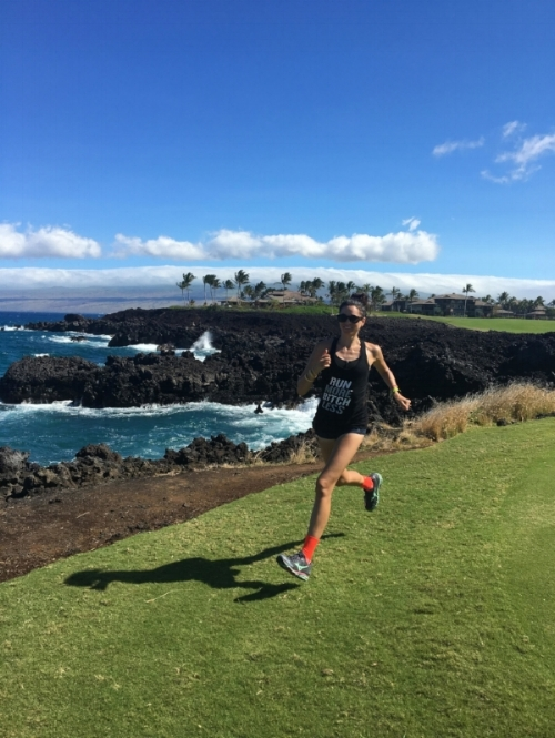 end of the run by the ocean = reward for those hot lava rock miles