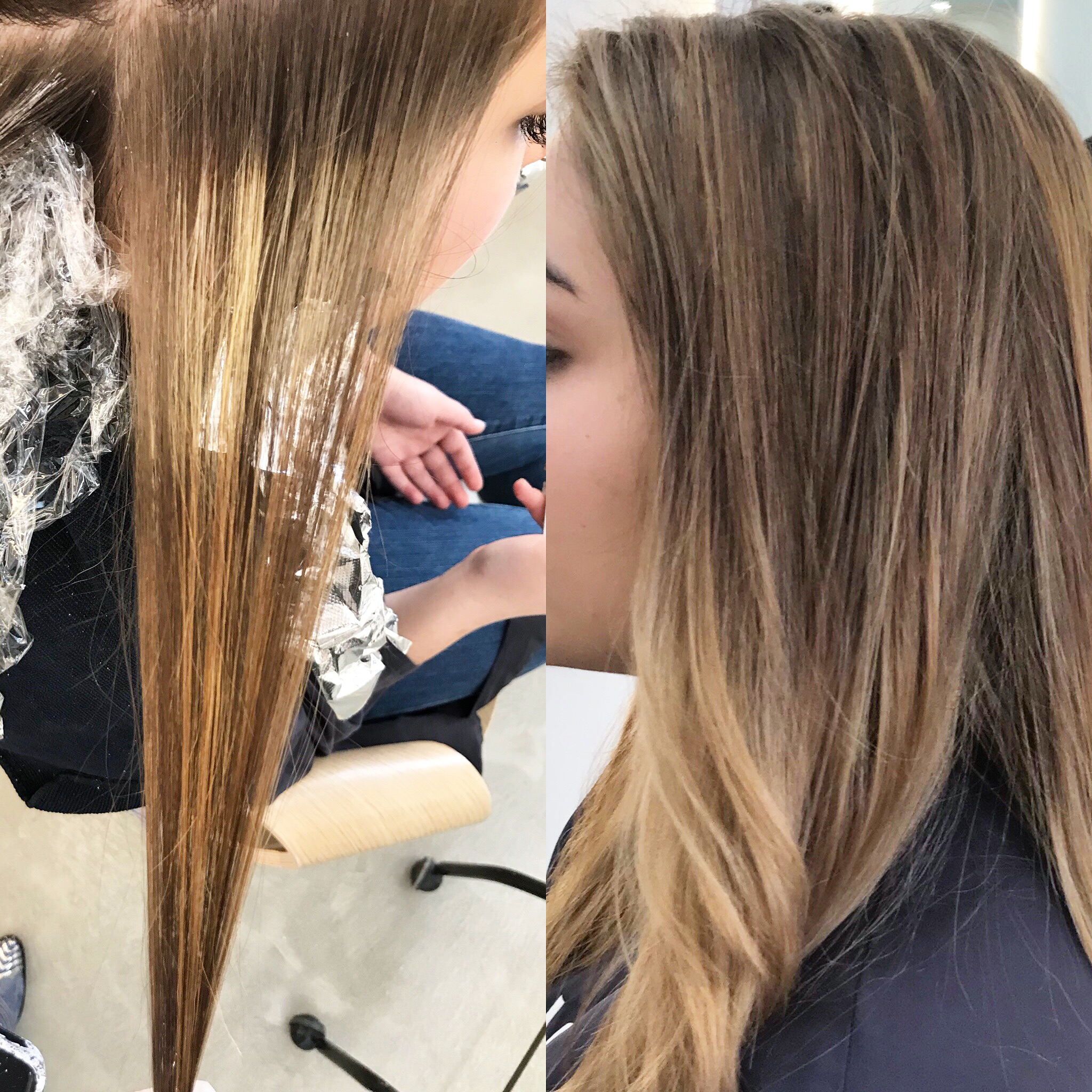 Left: before balayage : hair ends was much darker than roots due to her previous color Right : After Balayage : darker roots and ligher ends  photo by chinatsu ohtsu