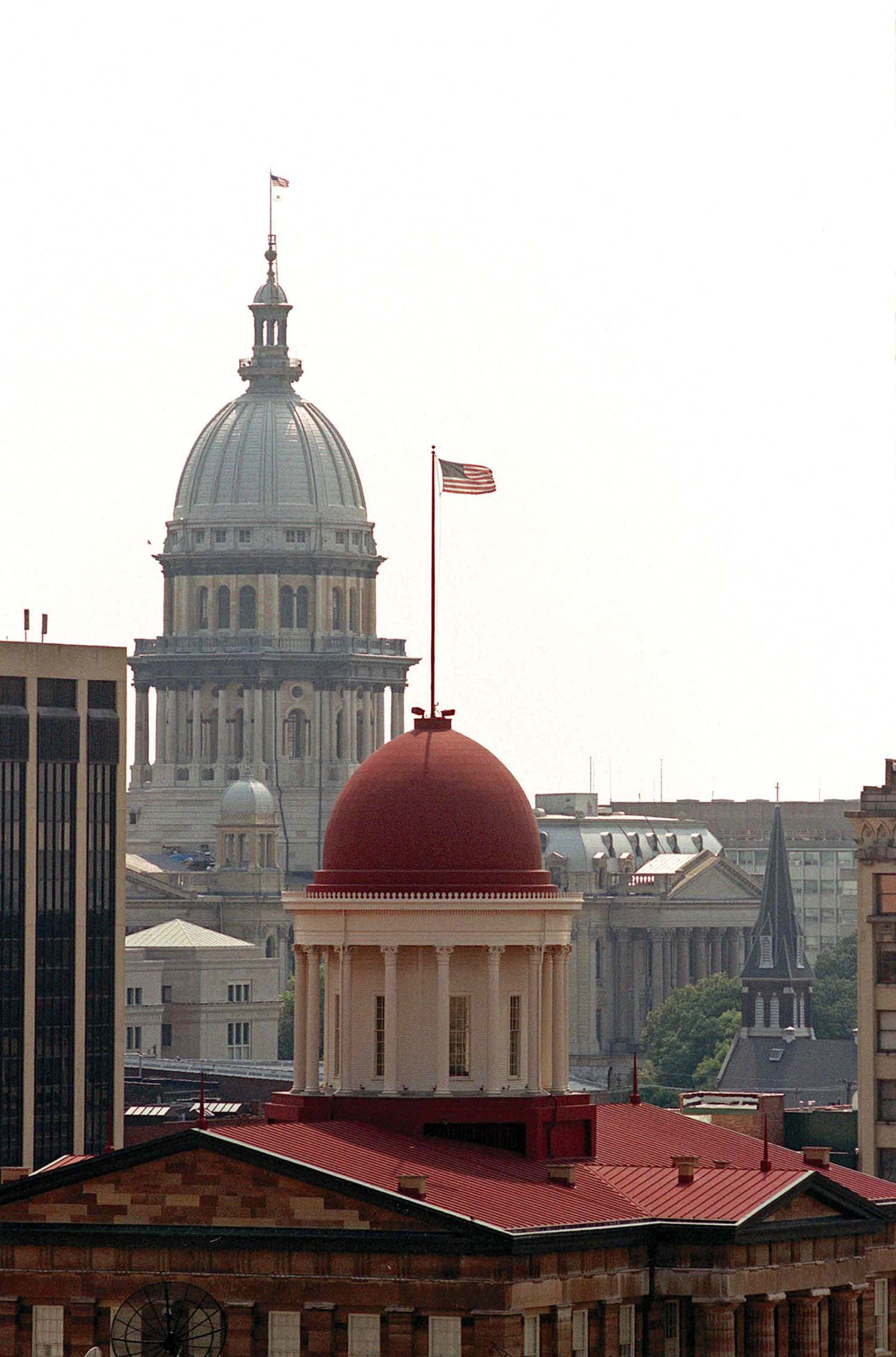 The Old State Capitol and Illinois State Capitol line up in this view from a downtown rooftop. Bill Hagen/The State Journal-Register