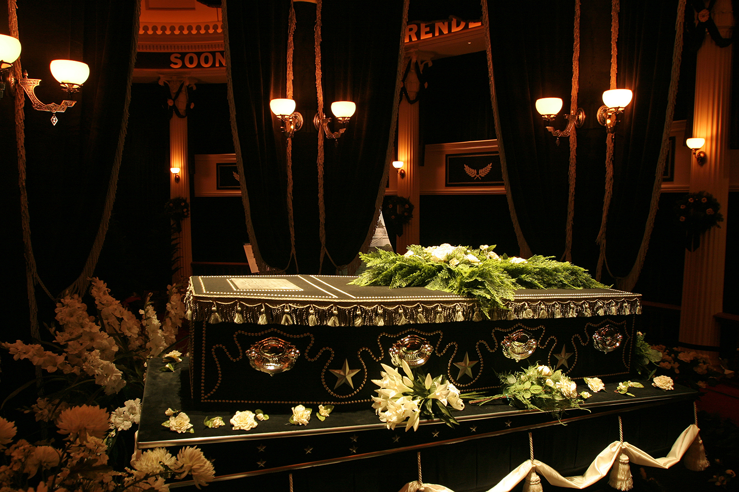 The somber scene of Lincoln's body lying in state in the Hall of Representatives at the State Capitol is recreated in detail at the Abraham Lincoln Presidential Museum. Rich Saal/The State Journal-Register