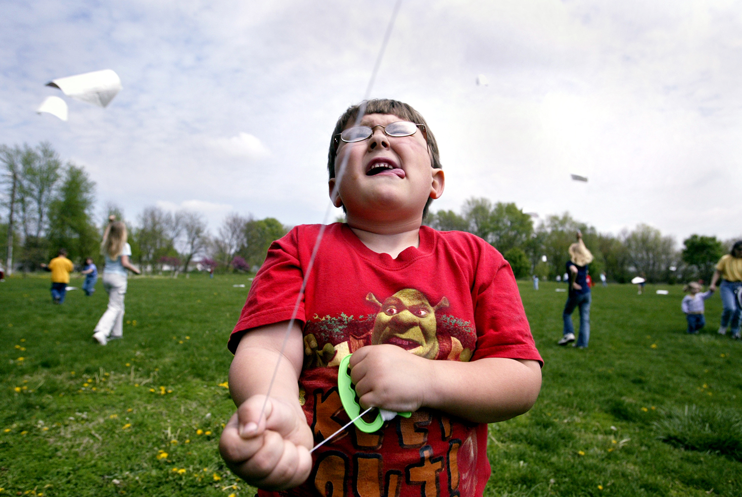 Garrett Gerdes, 5, a kindergartener at Tallula Elementary School, flies his kite during an annual kite flying event at the school. Michael Brown/The State Journal-Register