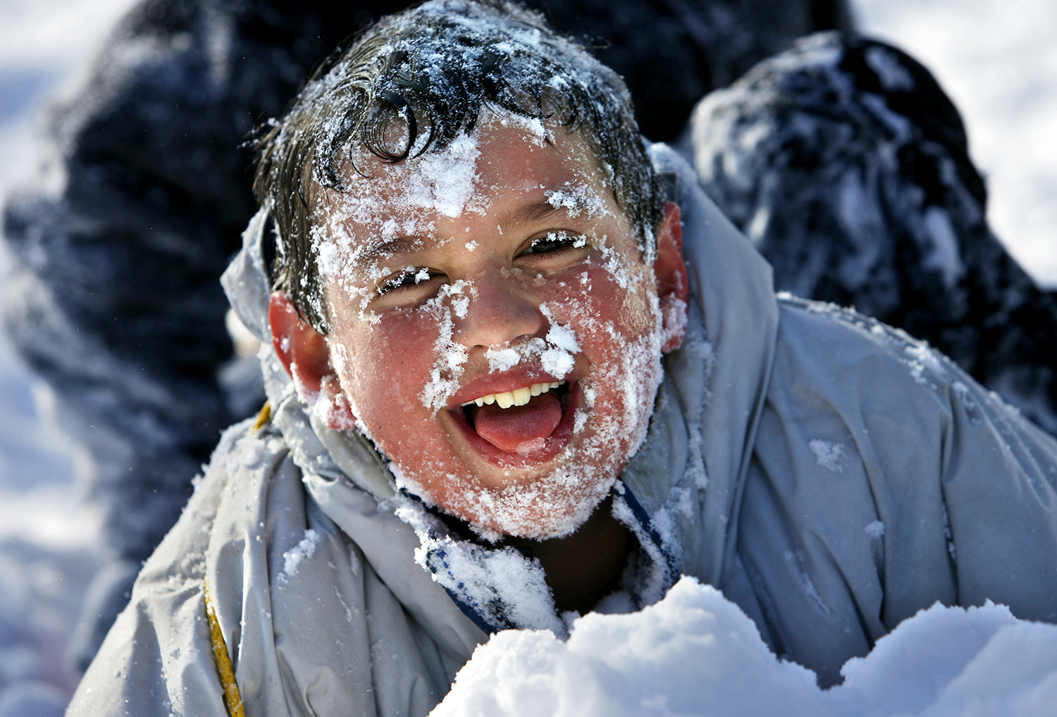 Matthew LaMarca, 11, comes up with a frosty face after sledding head first down a hill at Washington Park on Friday, Dec. 1, 2006. Jonathan Kirshner/The State Journal-Register