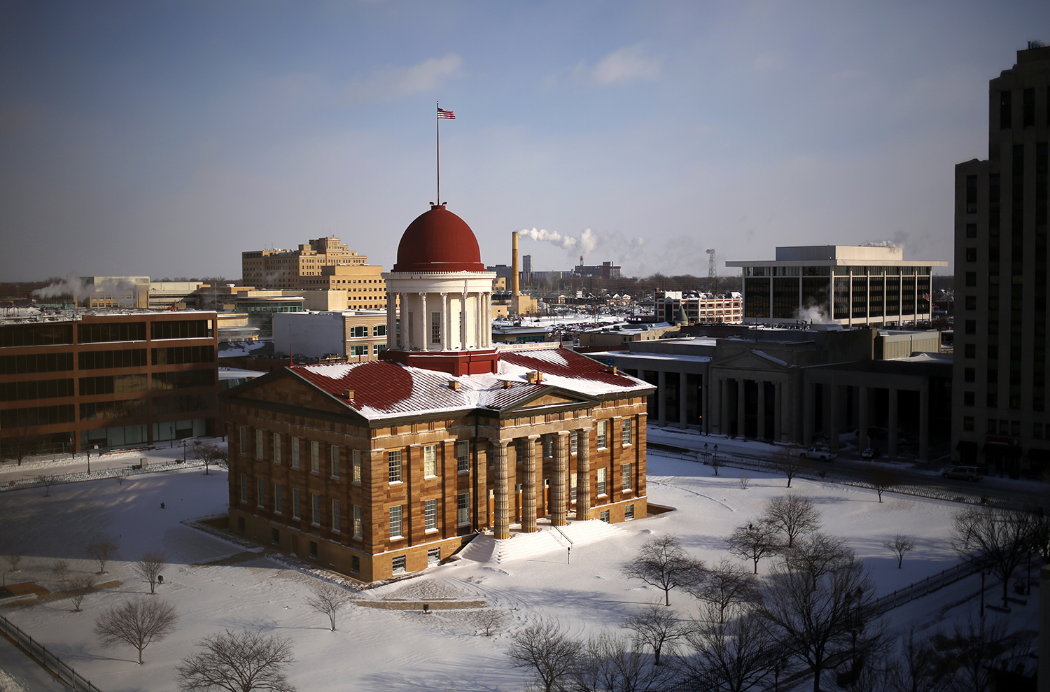 A layer of snow surrounds the Old State Capitol Monday, Jan. 6, 2014. Rich Saal/The State Journal-Register