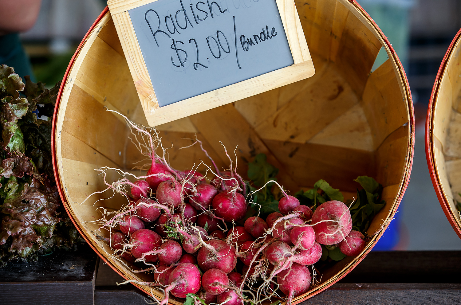 Radishes, green onions, broccoli and red sail lettuce for sale at Spilt Rail Garden's booth at the Illinois Products Farmers' Market at the Illinois State Fairgrounds, Thursday, June 5, 2014. Justin L. Fowler/The State Journal-Register