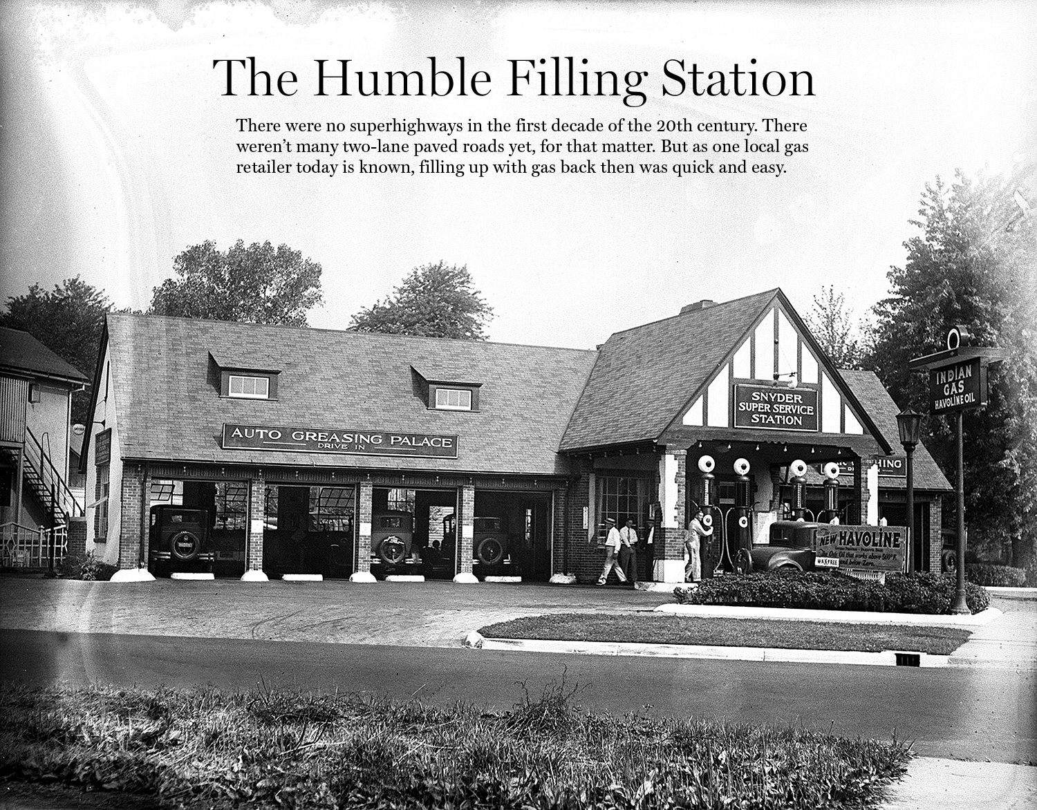 The Snyder Super Service Station at Fifth Street and South Grand Avenue, placed emphasis on the servicing facilities—a prominently named, four bay Auto Greasing Palace—but retained its residential appearance with a Tudor revival design and a landscaped lot.  File photos/The State Journal-Register