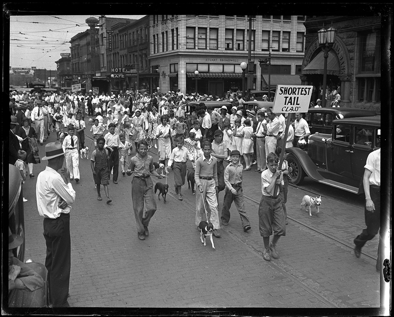 "Illinois State Register sponsored Dog Parade, ""shortest tail"" category, June 22, 1929. File/The State Journal-Register"