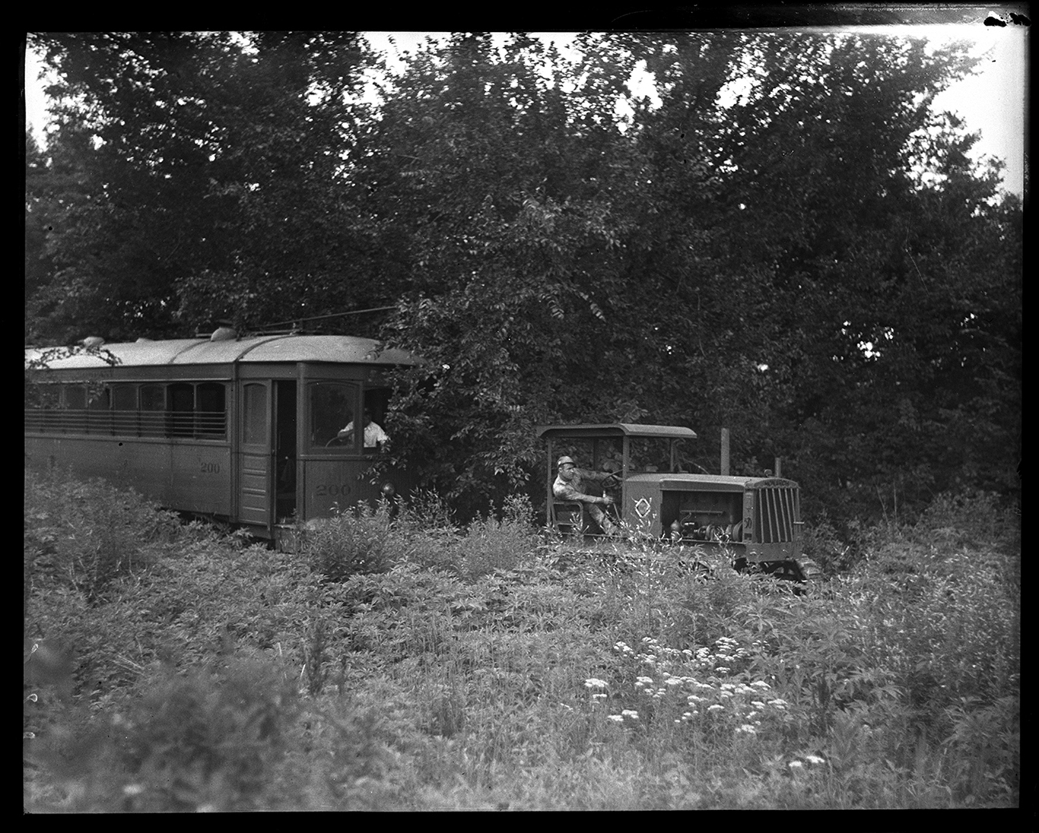 Streetcar No. 200 was dragged into retirement on July 2,1936 after ending its service on the 'zinc works' branch of the Illinois Power Company's citywide trolley system. The zinc line serviced the northeast section of Springfield and the car was towed over a stretch of unused and overgrown track that no longer had the overhead power cable needed to provide power. Its destination was the trolley car barn on Eighth Street at Monroe (now Saputo's Restaurant). File/The State Journal-Register