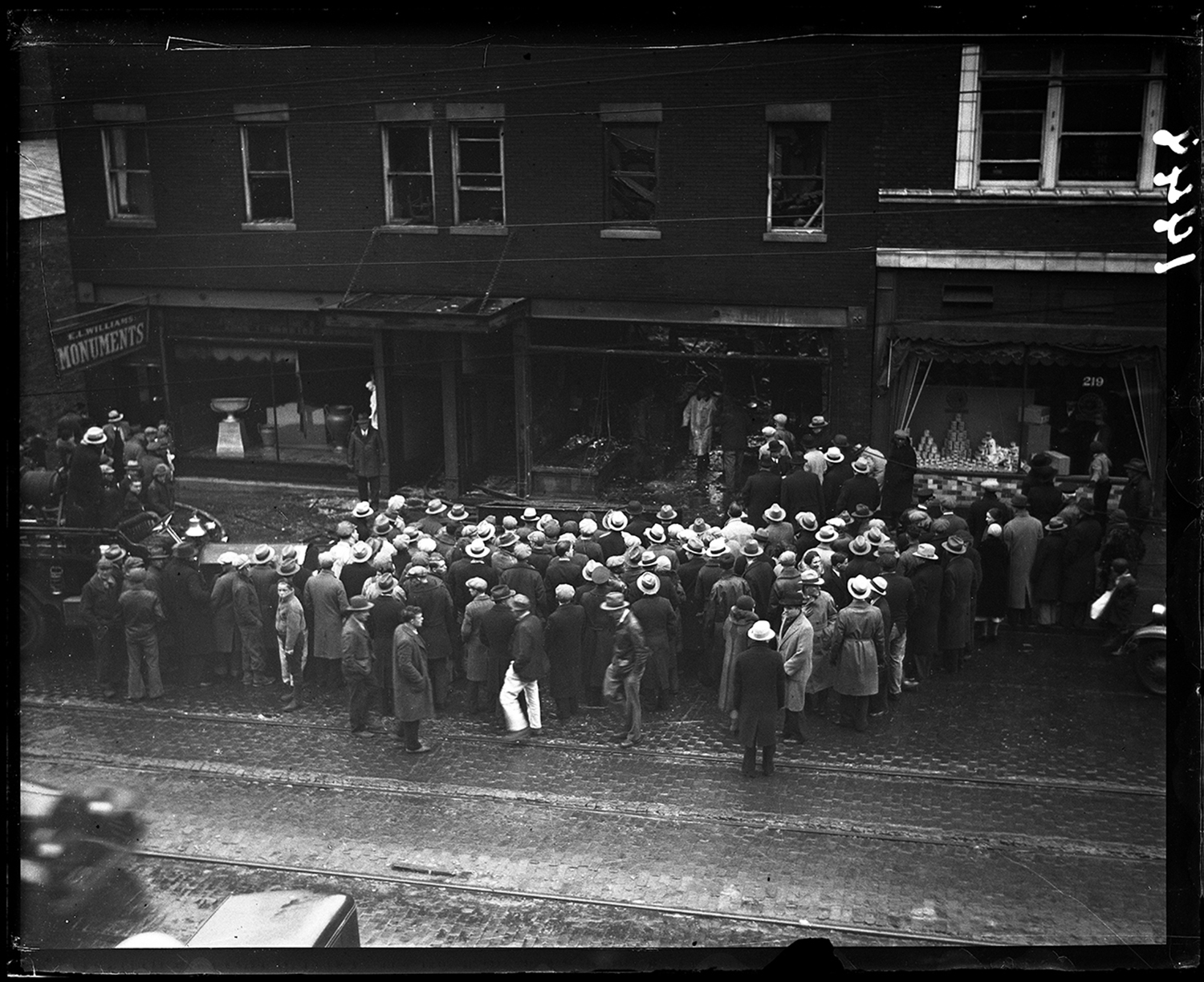 Two killed in fire and explosion at the Italian Villa restaurant and E.L. Williams Monument Co, 200 block E. Monroe Street, Jan. 26, 1932. File/The State Journal-Register