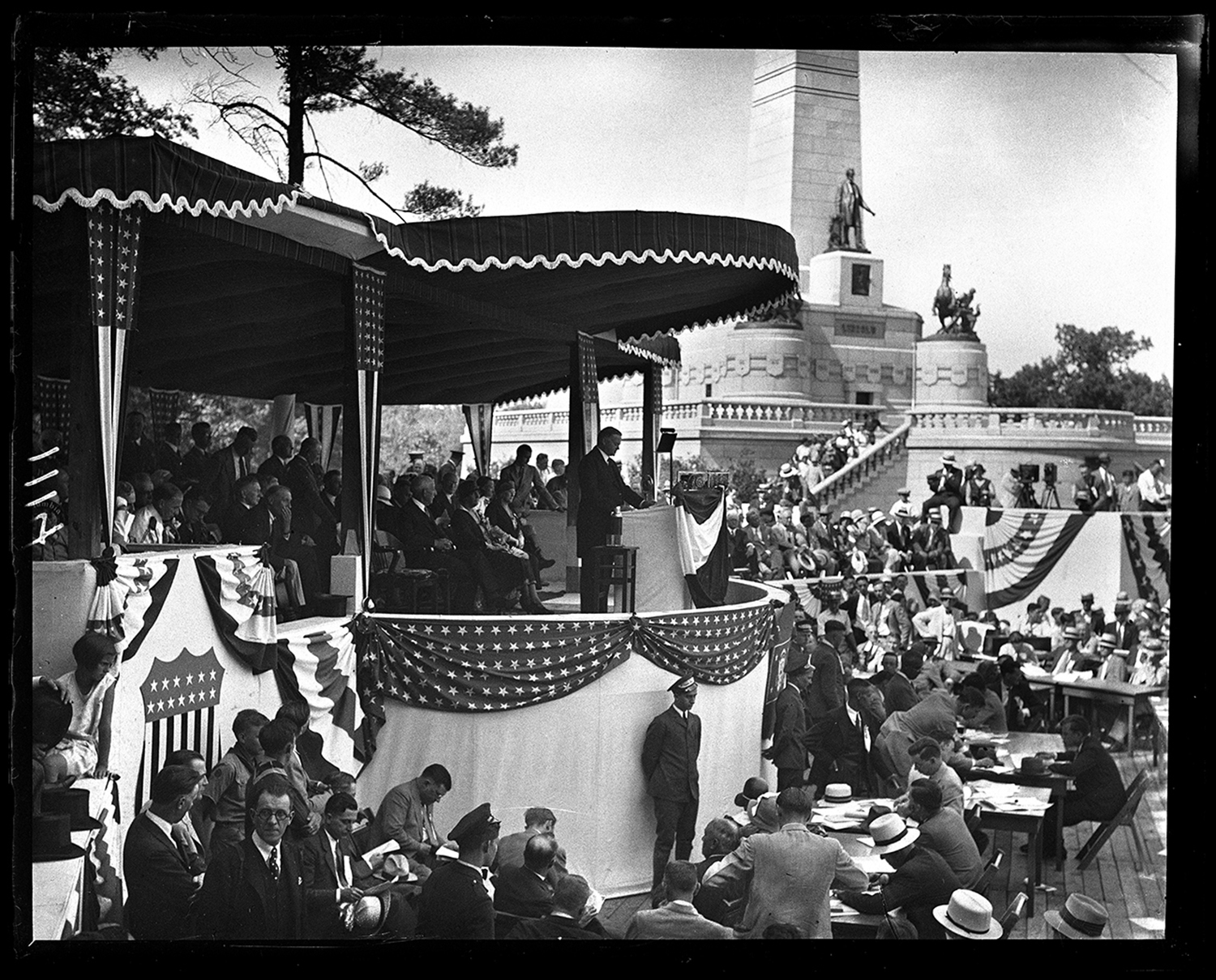 President Herbert Hoover (at lectern), visit to Springfield for rededication of Lincoln's Tomb at Oak Ridge Cemetery, June 17, 1931. File/The State Journal-Register