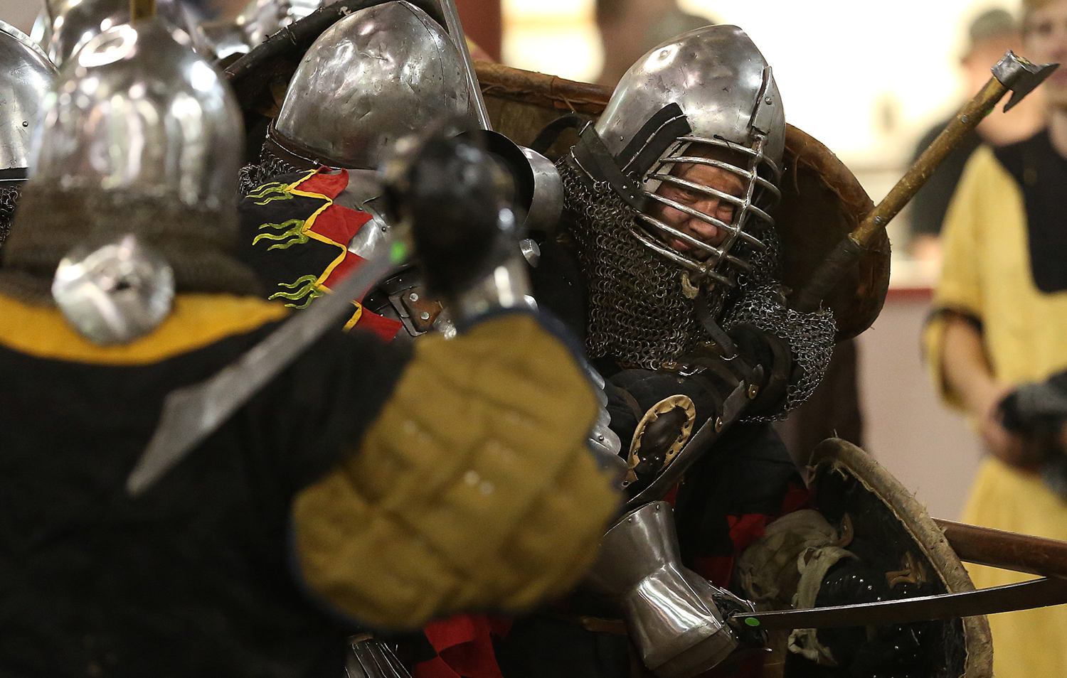A close-up during one of the battles on Saturday. The Medieval battle competition Battle of the Nations International Tournament of Chivalry took place at the Livestock Center on the Illinois State Fairgrounds in Springfield on Saturday, Oct. 18, 2014. Armored sword fighters competed in the full contact sport individually and as teams from around the world for medals. David Spencer/The State Journal-Register