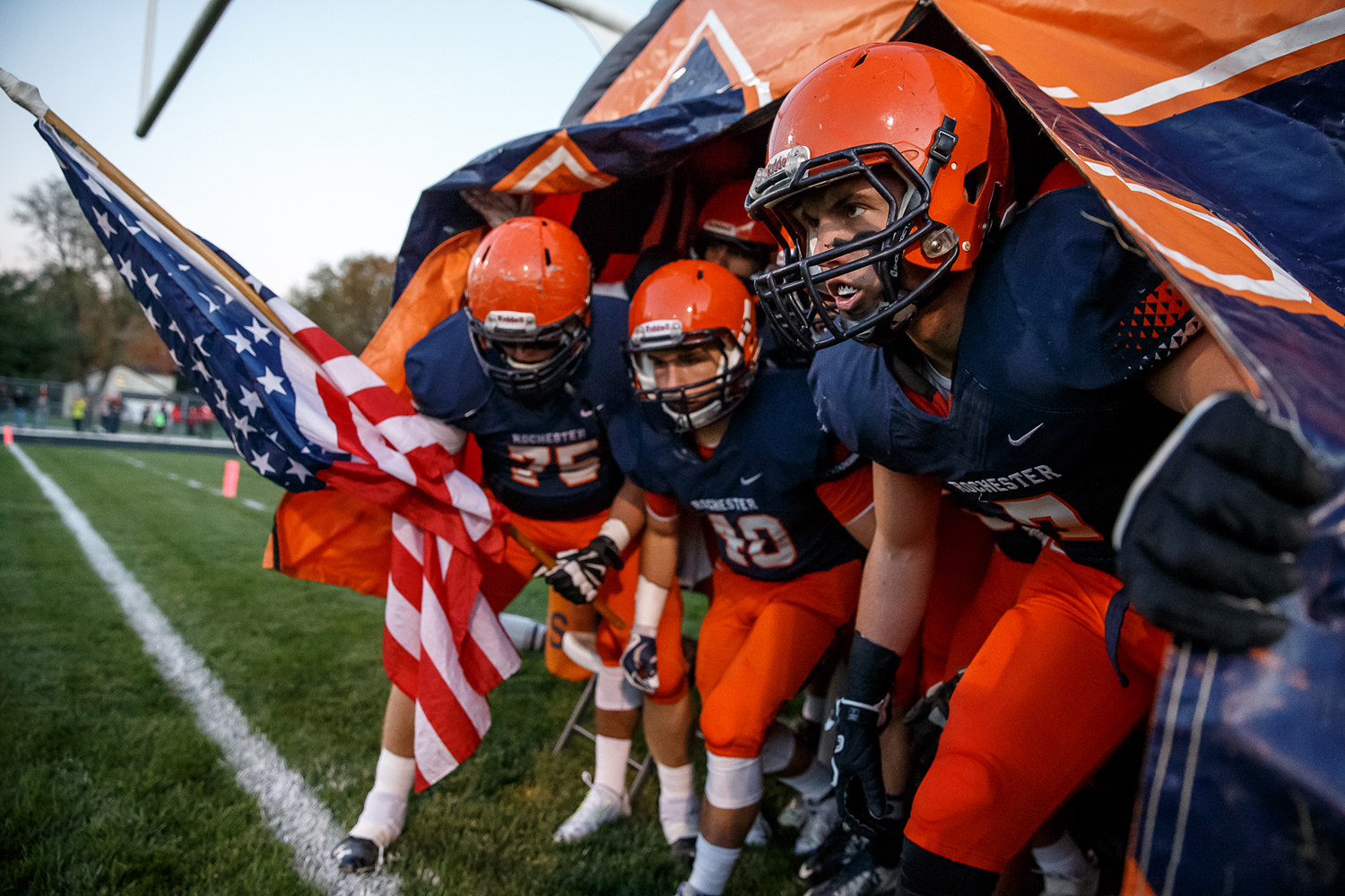 Rochester's Dallas Greer (7) prepares to head out on the field with his teammates to take on Mt. Zion during the first round of the Class 4A playoffs at Rocket Booster Field, Saturday, Nov. 1, 2014, in Rochester, Ill. Justin L. Fowler/The State Journal-Register