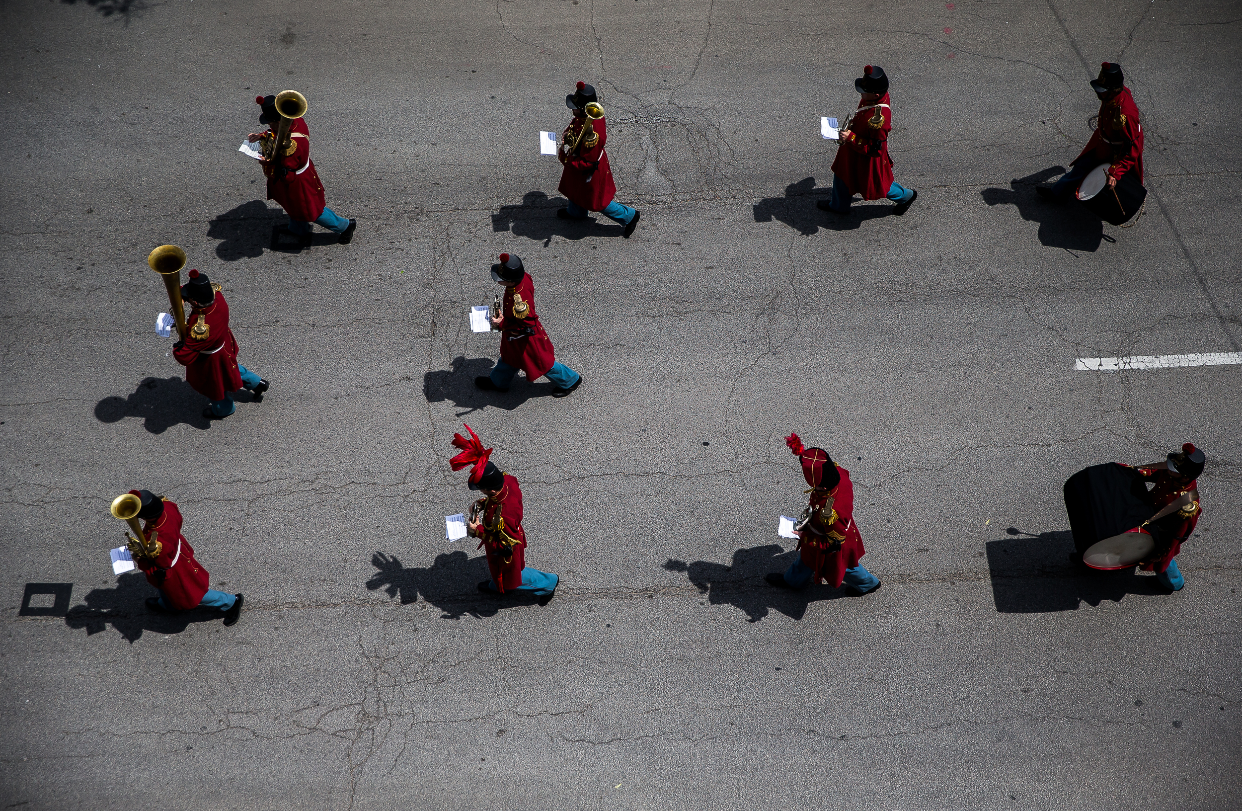 President Lincoln's Own Band marches up Fourth Street at the front of the funeral procession during the 2015 Lincoln Funeral Re-enactment, Sunday, May 3, 2015, in Springfield, Ill. Justin L. Fowler/The State Journal-Register