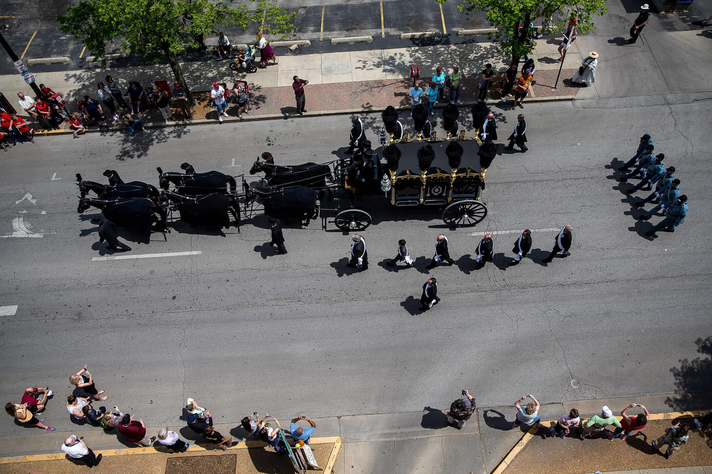 The horse drawn replica of Lincoln's hearse makes it's way up Fourth Street in route to Oak Ridge Cemetery during the 2015 Lincoln Funeral Re-enactment, Sunday, May 3, 2015, in Springfield, Ill. Justin L. Fowler/The State Journal-Register