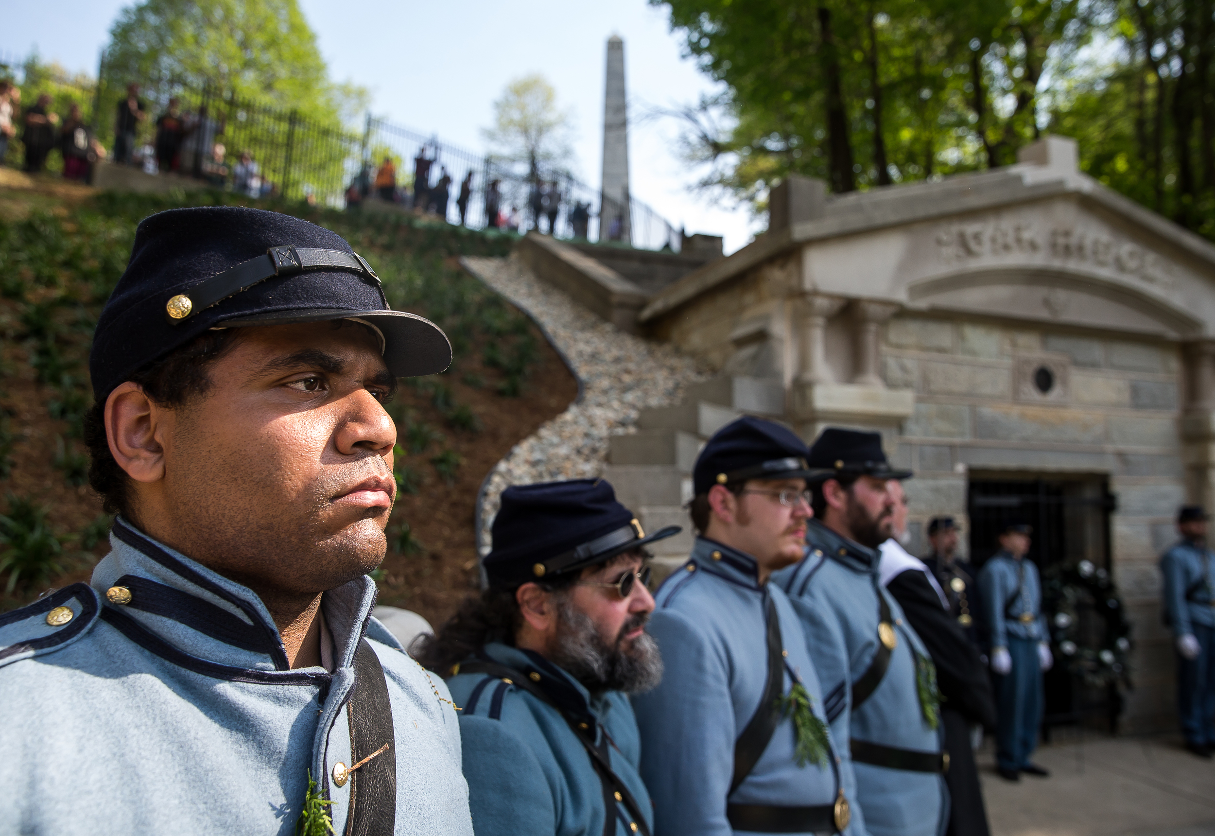 Ryan Meehan, a member of the Veterans Reserve Corps, stands at attention after Lincoln's casket was placed in the original receiving vault in Oak Ridge Cemetery during the 2015 Lincoln Funeral Re-enactment, Sunday, May 3, 2015, in Springfield, Ill. Justin L. Fowler/The State Journal-Register