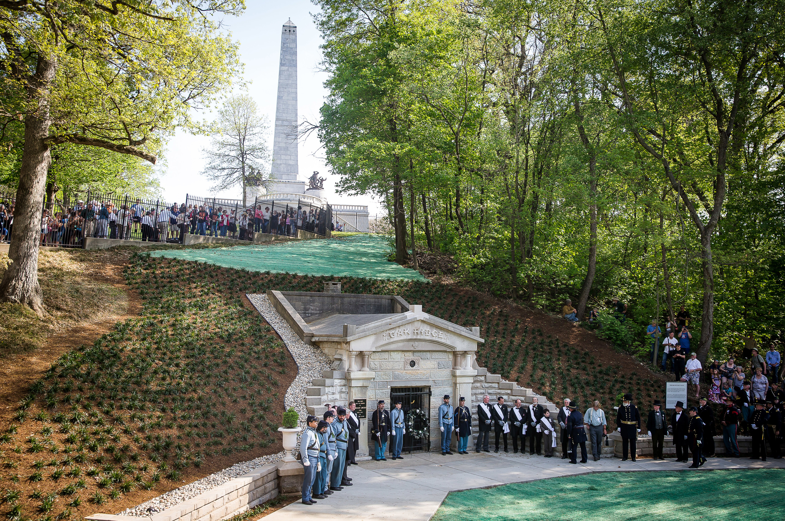 Pallbearers and members of the Veterans Reserve Corps stand at attention in front of the original receiving vault where Lincoln's casket was placed at Oak Ridge Cemetery during the 2015 Lincoln Funeral Re-enactment, Sunday, May 3, 2015, in Springfield, Ill. Justin L. Fowler/The State Journal-Register