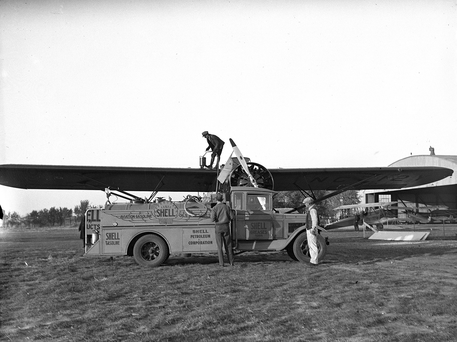 An American Airlines plane is refueled at the municipal airport Nov. 11, 1931. File/The State Journal-Register