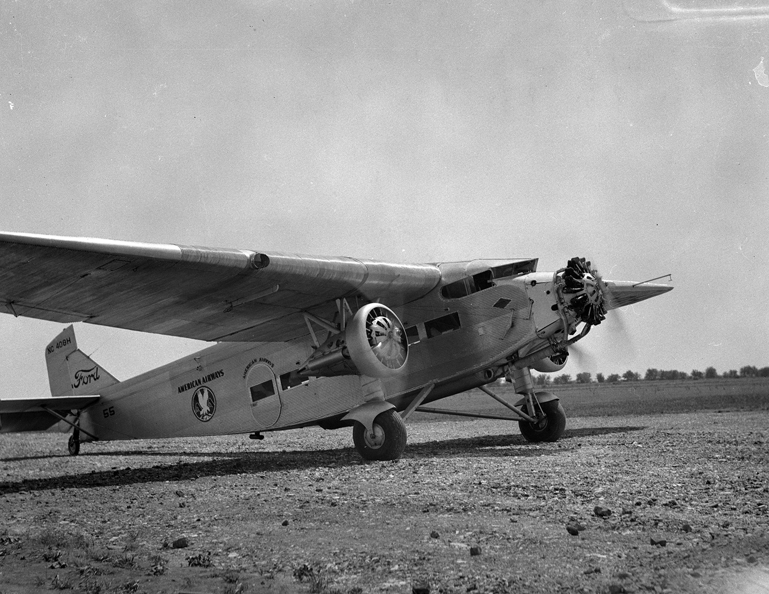 American Airlines Ford Tri-Motor airplane at municipal airport, ca. 1930. File/The State Journal-Register
