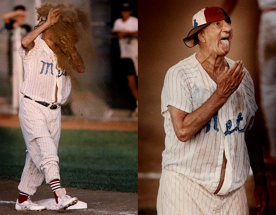 """I photographed Max Patkin, known as the """"Clown Prince of Baseball"""", at Lanphier ballpark in 1992, the year before his retirement. Patkin's unusual career is reported to have begun when he followed Joltin' Joe DiMaggio, the Yankee slugger, in mock anger as he rounded the bases after hitting a home run while they were stationed in wartime Hawaii in 1944. In 1985, during my first gig on the Sun-Tattler photo staff in Florida, I photographed DiMaggio as well, doing the tried and true trick of throwing up and catching a baseball while looking into the lens.David Spencer/The State Journal-Register"""