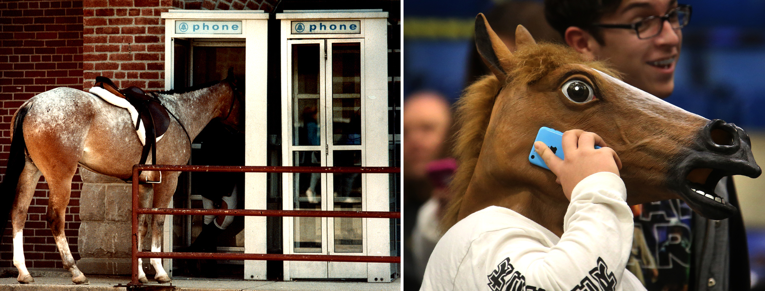 Left: April, 1990: Gwen Reichert of Marengo, Iowa, makes a call from a telephone booth outside the state fairgrounds Coliseum despite the intrusion of her horse, Sonnys Dancer, who was nuzzling in on the conversation. Both were in Springfield for the Railsplitter Horse Show. Right: January, 2016: Donning a horse mask, Southeast High School student Jared Smothers took a phone call while standing in the Spartans student cheering section during the 68th annual City Boys Basketball Tournament at Springfield's Prairie Capital Convention Center. David Spencer/The State Journal-Register