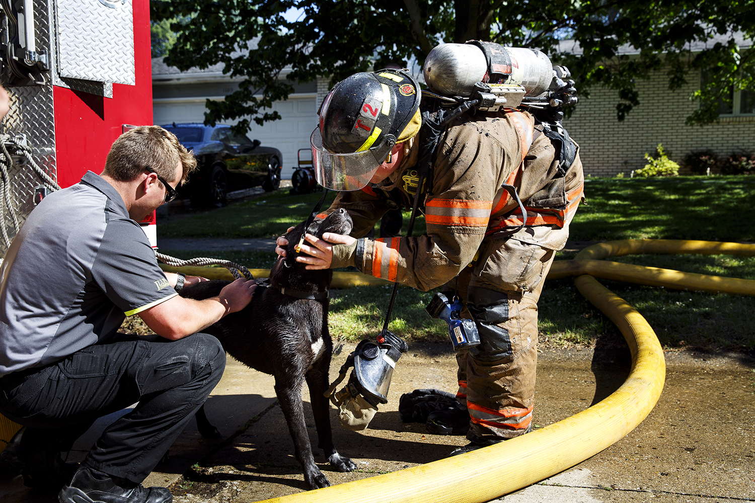 Eric Dodd, left, a Springfield Fire Department intern, and firefighter Tyler Hornback comfort a dog that was rescued from a burning home on Springfield's south side June 6. Springfield Fire Chief Barry Helmerichs said heavy flames and thick smoke were shooting from the rear of the home at 1109 Green Meadow Lane when crews arrived shortly after 8:30 a.m. Firefighters were able to get inside and rescue the dog. The owners were not at home. Rich Saal/The State Journal-Register