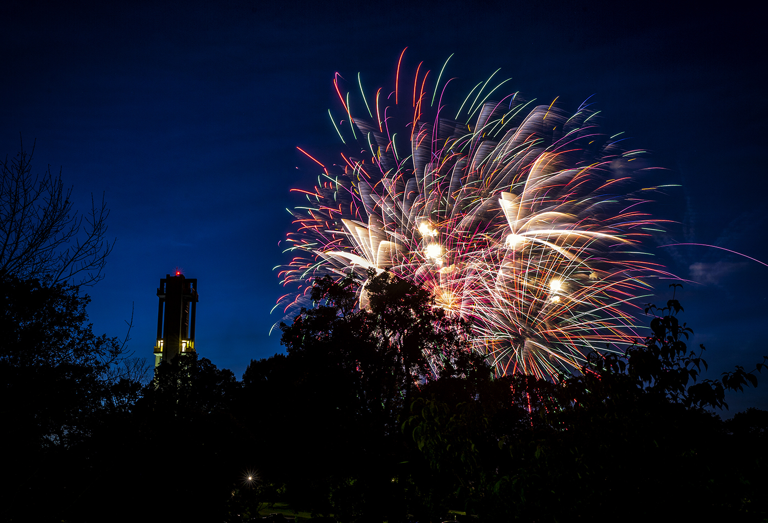 Fireworks explode over the Thomas Rees Memorial Carillon during the 56th International Carillon Festival in Washington Park June 9. Justin L. Fowler/The State Journal-Register