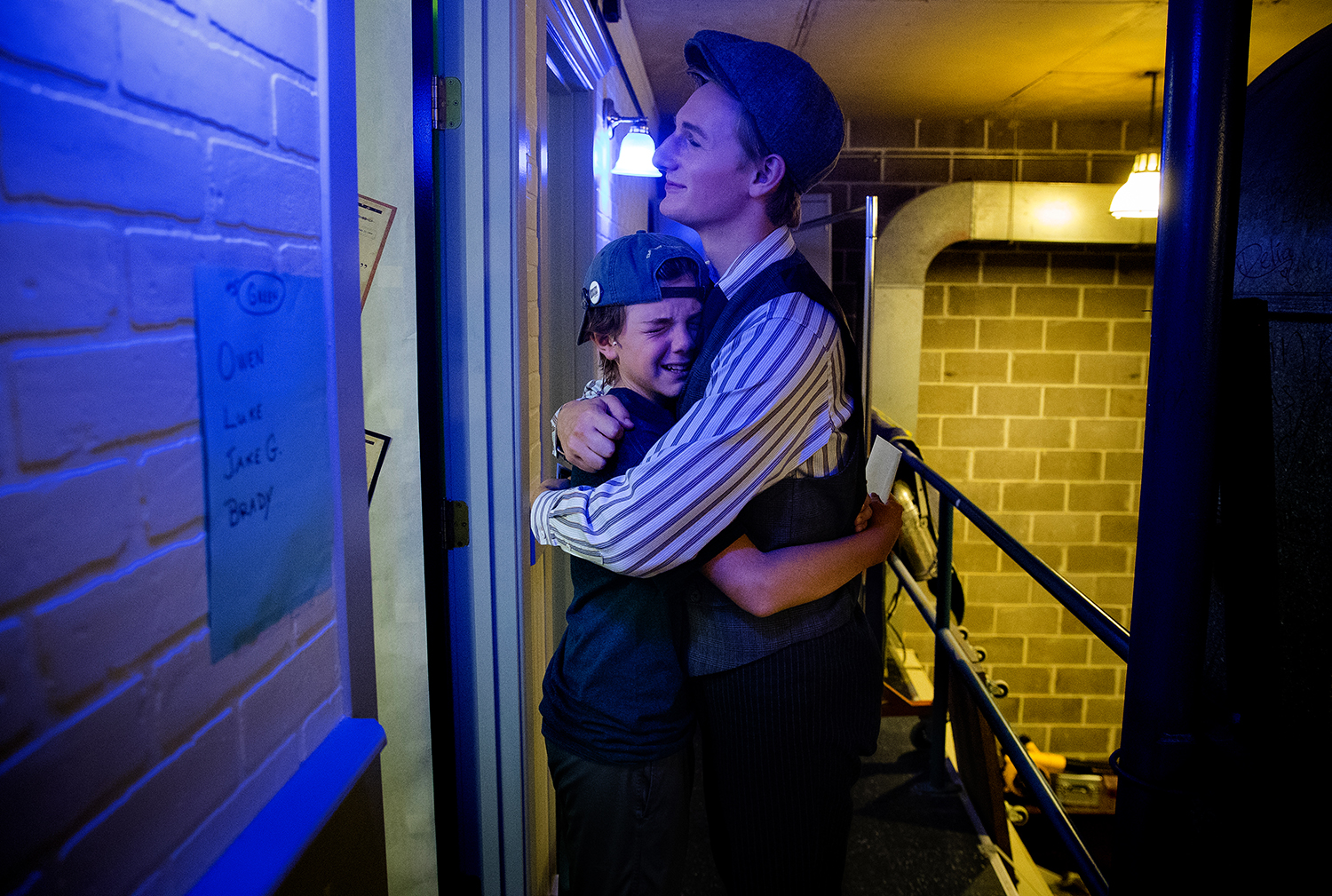 "The feeling for Jacob Giacomini and Levi Ehrmantraut was bittersweet before the curtain went up on the final production of ""Newsies"" at the Legacy Theatre July 30. The Legacy was one of only 12 theaters in the country licensed to perform the show and, due to its popularity, added three shows to the original 13-show run, nearly all of which were sold out. Ted Schurter/The State Journal-Register"