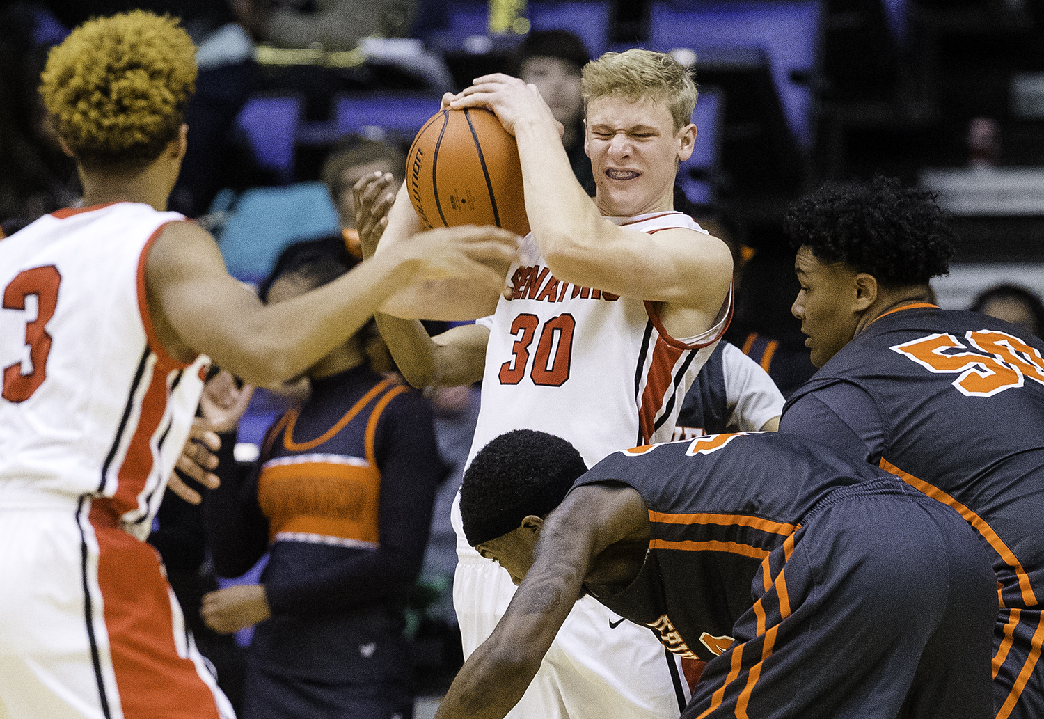 Springfield's Will Reiser fights for the ball against Lanphier during the Boys City Tournament at the Bank of Springfield Center Thursday, Jan. 18, 2018. [Ted Schurter/The State Journal-Register]