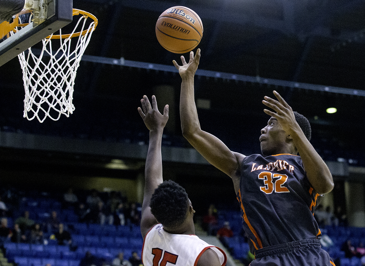 Lanphier's Karl Wright  puts in two against Springfield during the Boys City Tournament at the Bank of Springfield Center Thursday, Jan. 18, 2018. [Ted Schurter/The State Journal-Register]