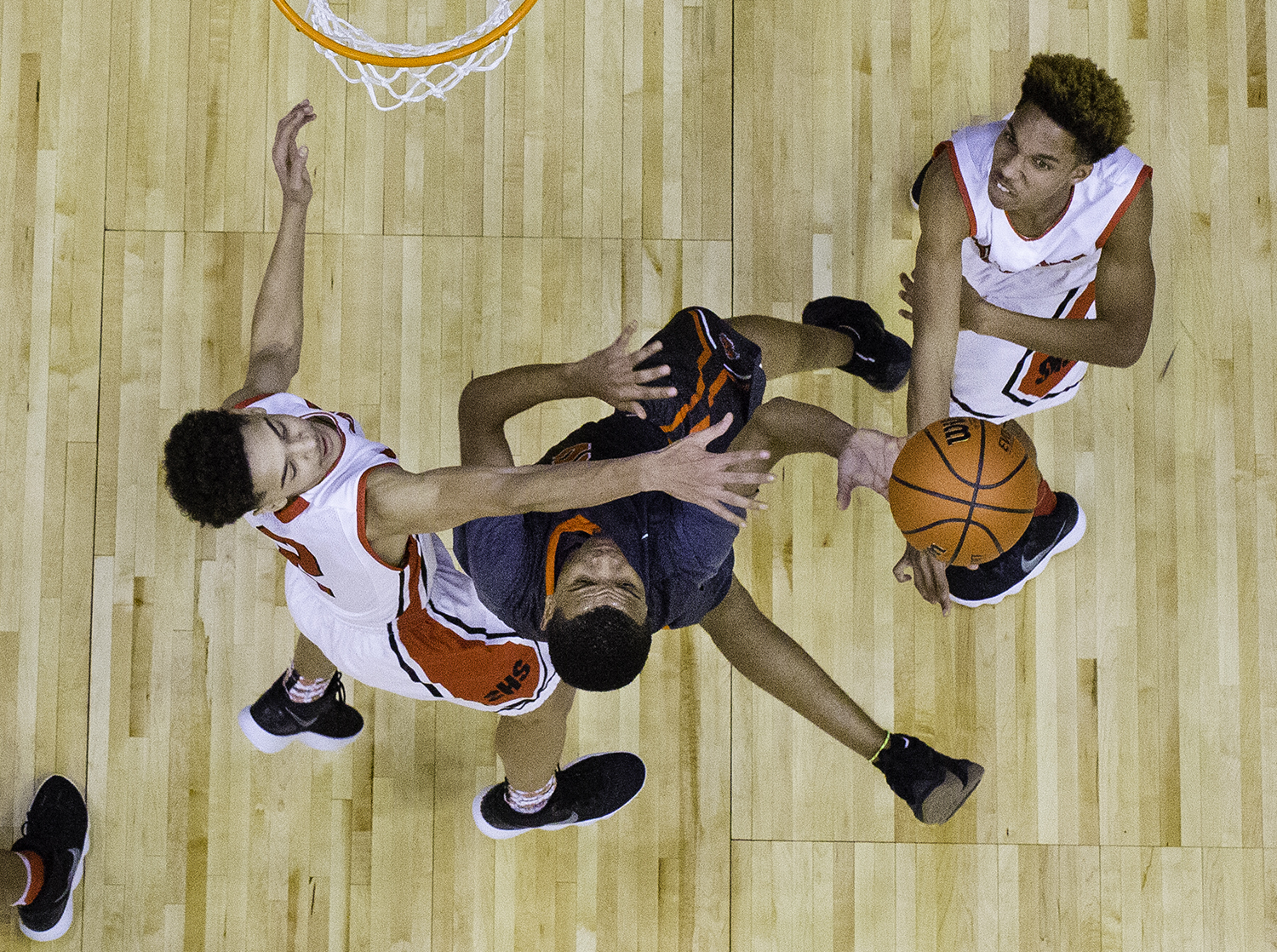Lanphier's Cardell McGee shoots under pressure from Springfield during the Boys City Tournament at the Bank of Springfield Center Thursday, Jan. 18, 2018. [Ted Schurter/The State Journal-Register]